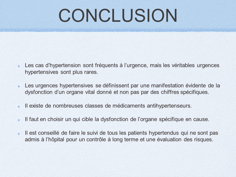 CONCLUSION Les cas d'hypertension sont fréquents à l'urgence, mais les véritables urgences hypertensives sont plus rares.