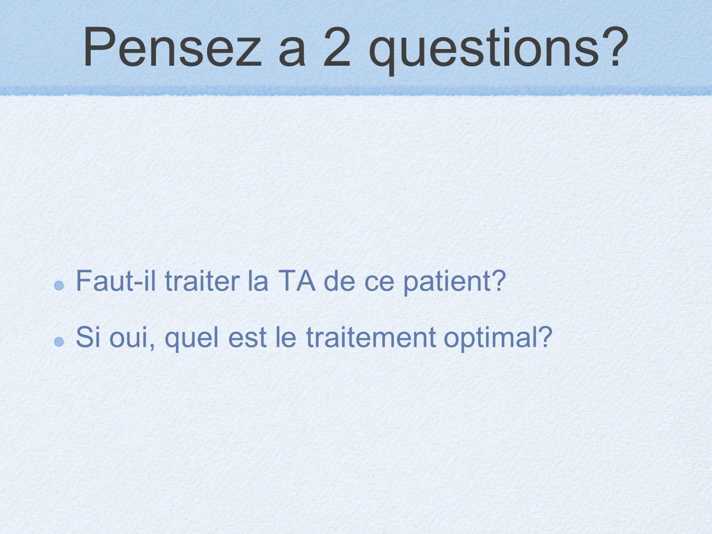 Pensez a 2 questions Faut-il traiter la TA de ce patient