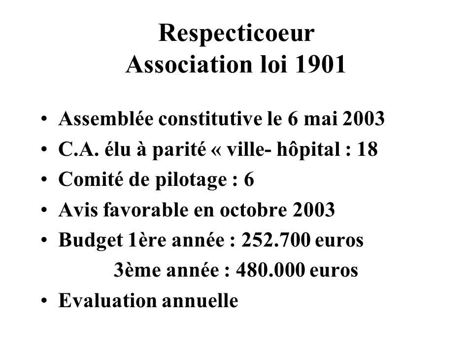 Respecticoeur Association loi 1901