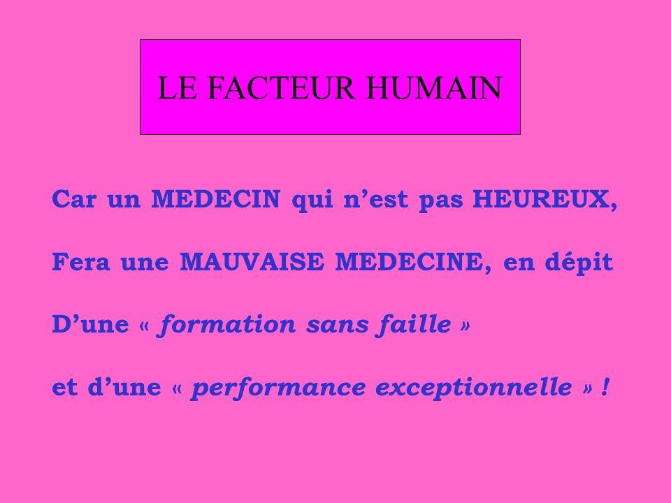 LE FACTEUR HUMAIN Car un MEDECIN qui n'est pas HEUREUX,