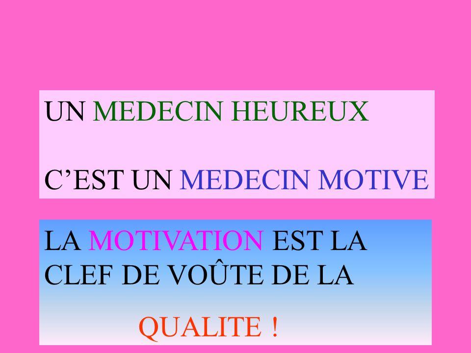 UN MEDECIN HEUREUX C'EST UN MEDECIN MOTIVE LA MOTIVATION EST LA CLEF DE VOÛTE DE LA QUALITE !