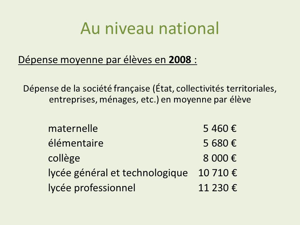Au niveau national Dépense moyenne par élèves en 2008 :