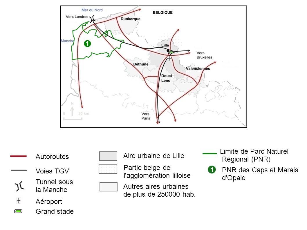 Limite de Parc Naturel Régional (PNR) Autoroutes. Aire urbaine de Lille. Partie belge de. l agglomération lilloise.