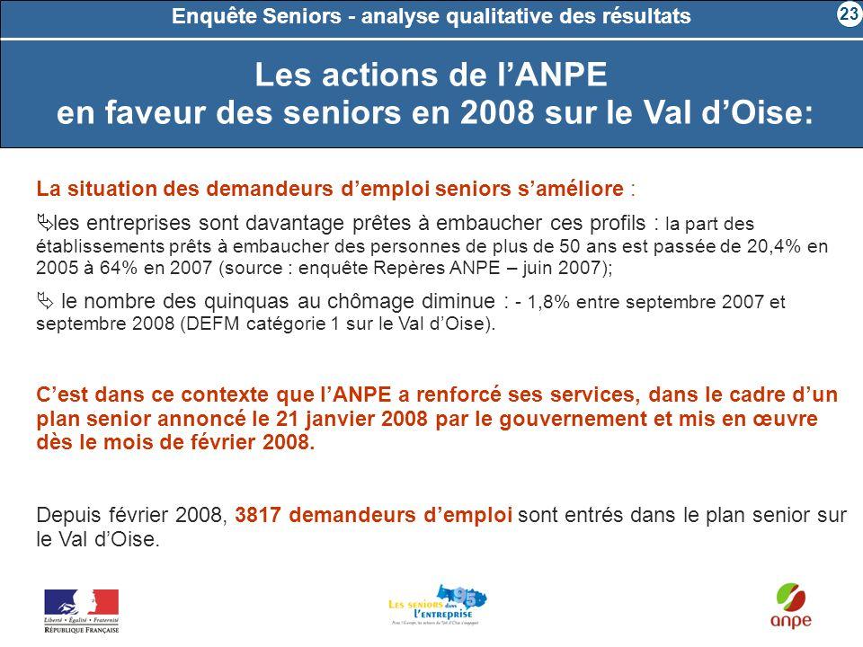 Les actions de l'ANPE en faveur des seniors en 2008 sur le Val d'Oise: