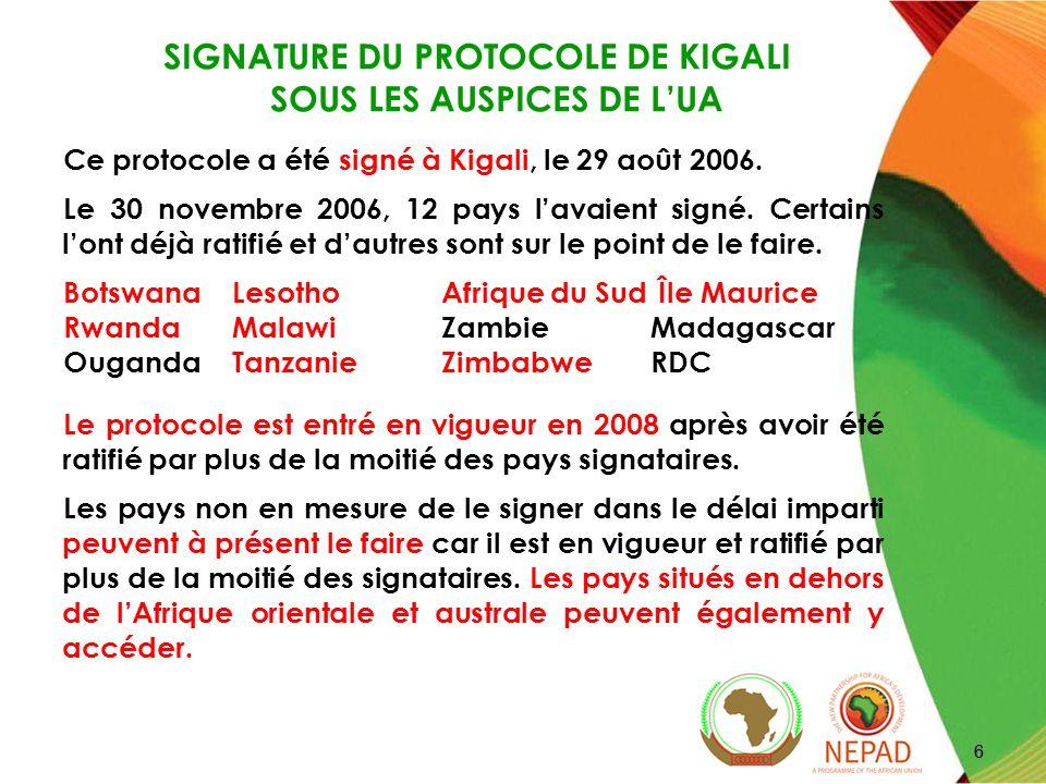 SIGNATURE DU PROTOCOLE DE KIGALI SOUS LES AUSPICES DE L'UA