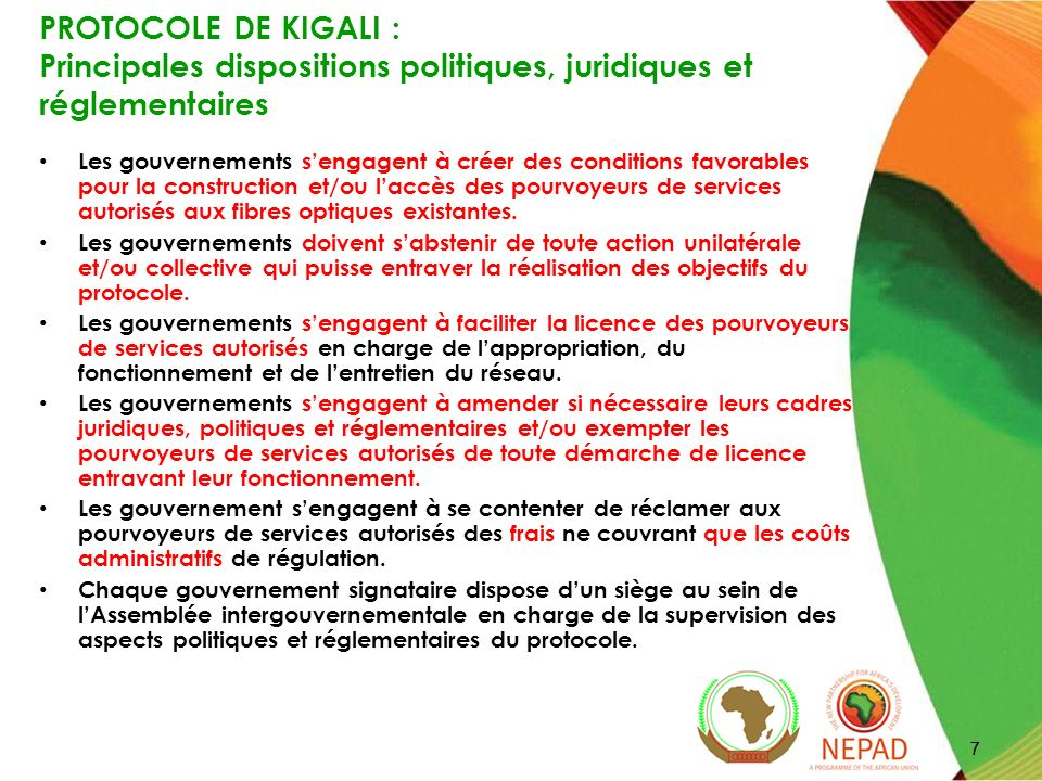 PROTOCOLE DE KIGALI : Principales dispositions politiques, juridiques et réglementaires