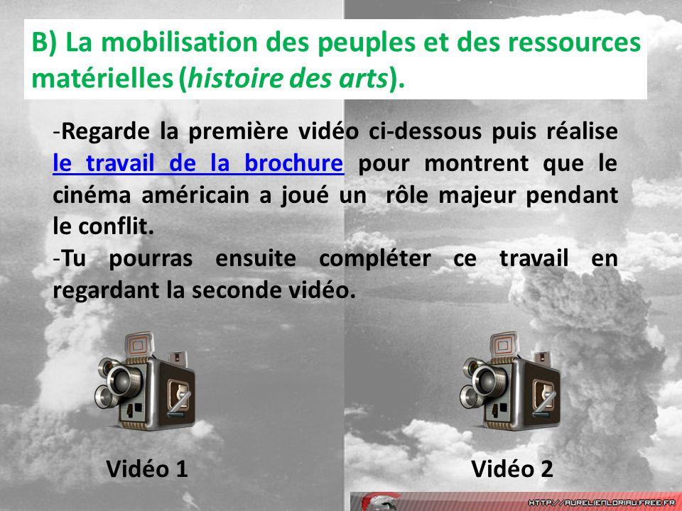 B) La mobilisation des peuples et des ressources matérielles (histoire des arts).
