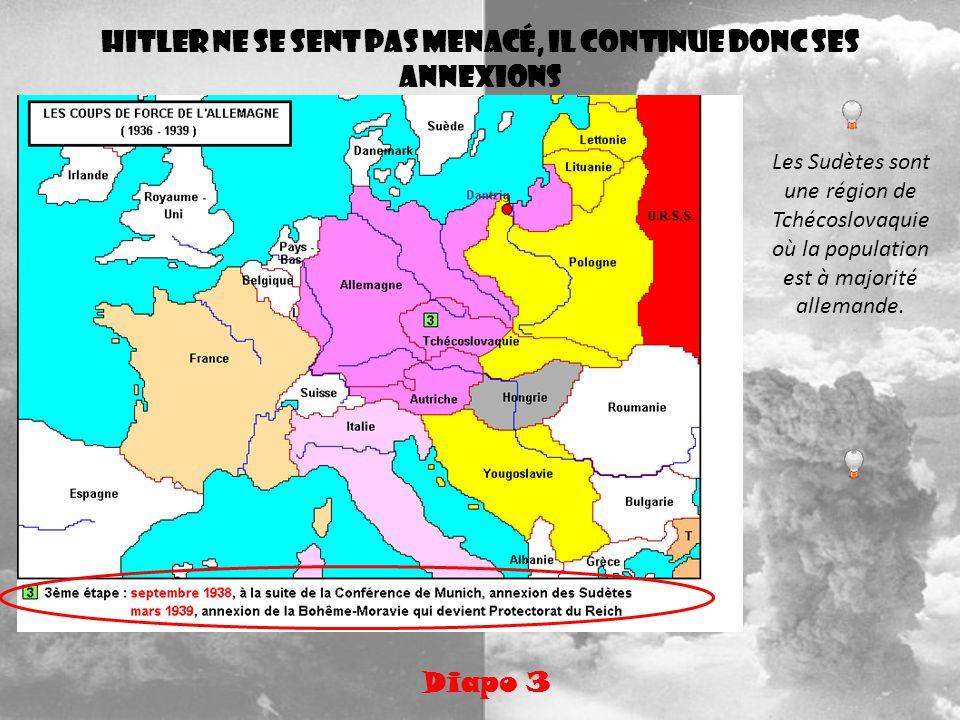 Hitler ne se sent pas menacé, il continue donc ses annexions