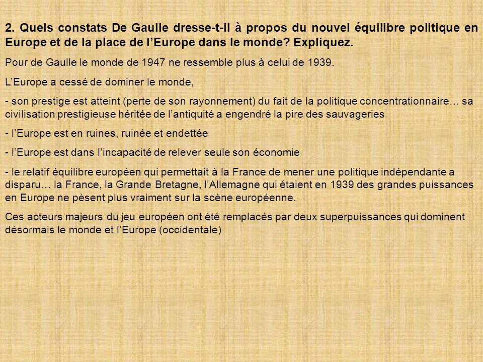 2. Quels constats De Gaulle dresse-t-il à propos du nouvel équilibre politique en Europe et de la place de l'Europe dans le monde Expliquez.