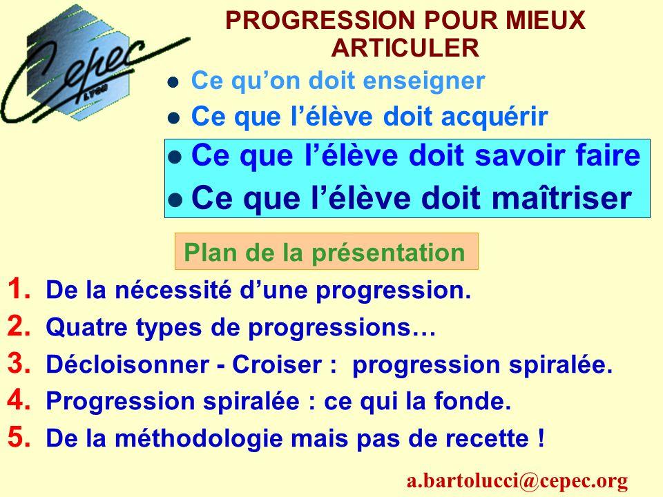 PROGRESSION POUR MIEUX ARTICULER