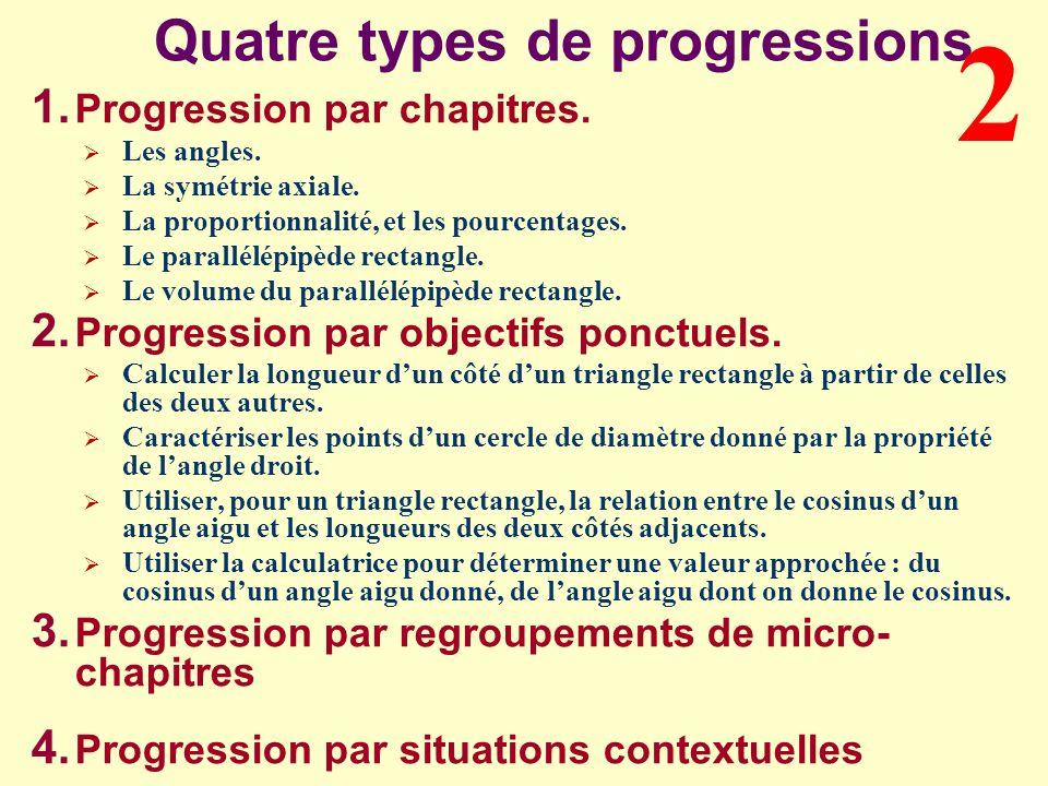 Quatre types de progressions