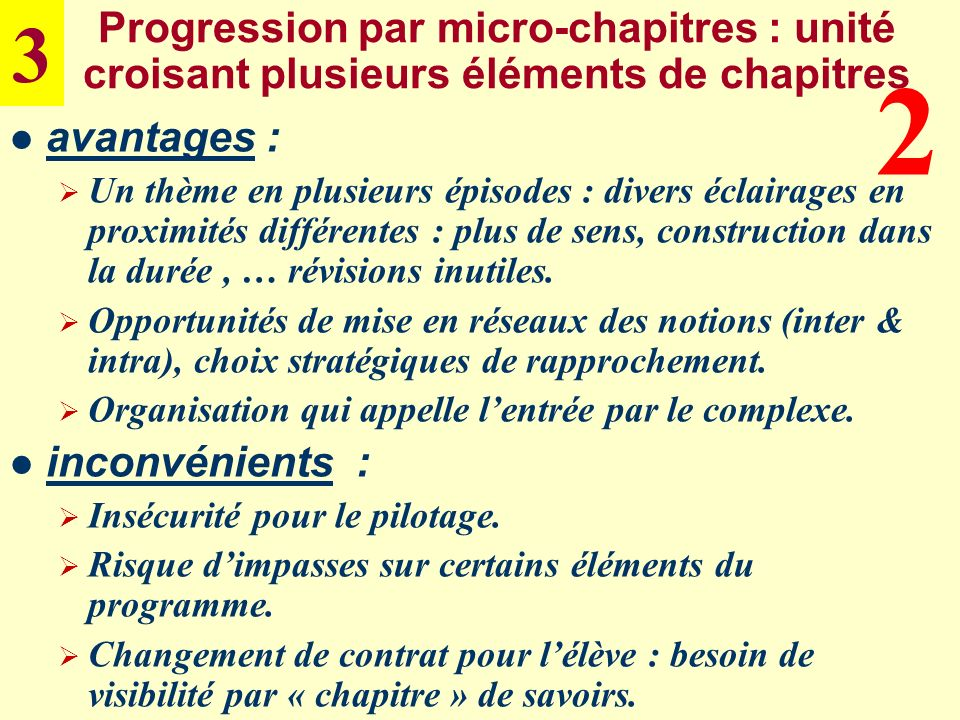 3 Progression par micro-chapitres : unité croisant plusieurs éléments de chapitres. 2. avantages :