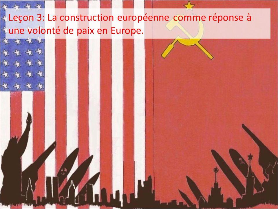 Leçon 3: La construction européenne comme réponse à une volonté de paix en Europe.