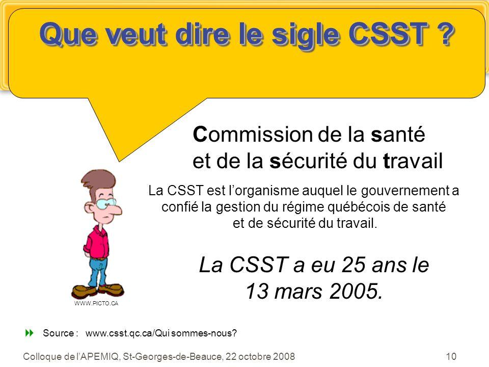 Que veut dire le sigle CSST