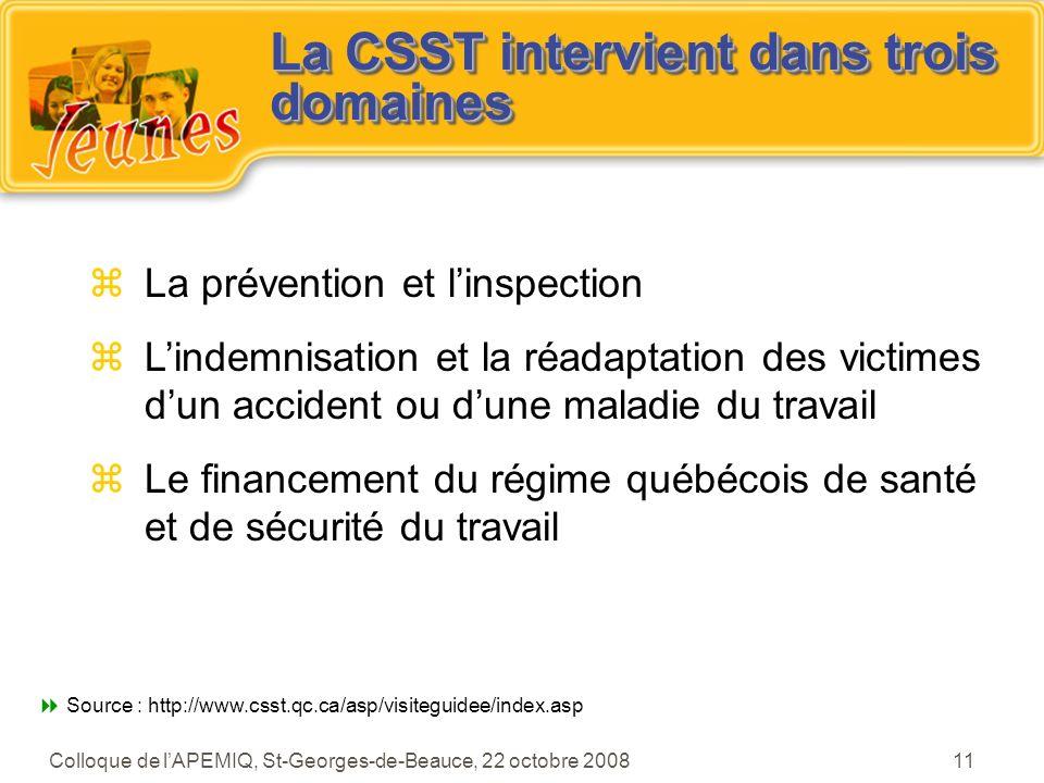 La CSST intervient dans trois domaines
