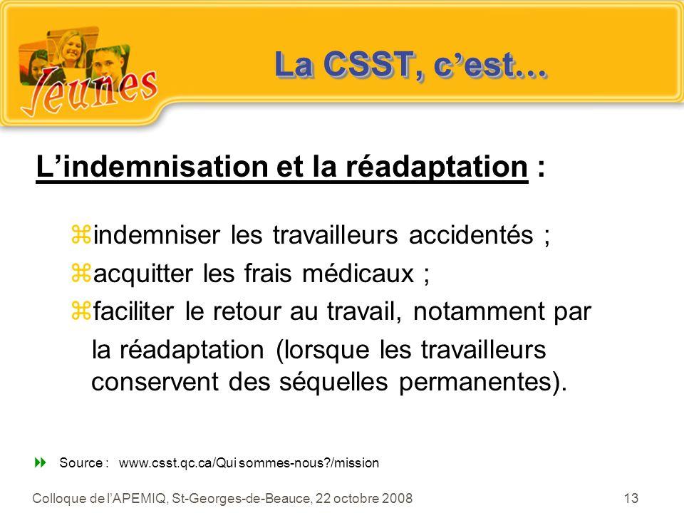 Source : www.csst.qc.ca/Qui sommes-nous /mission