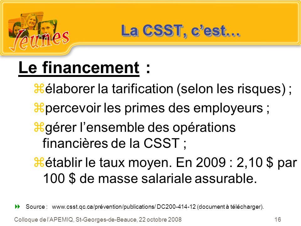 Le financement : La CSST, c'est…