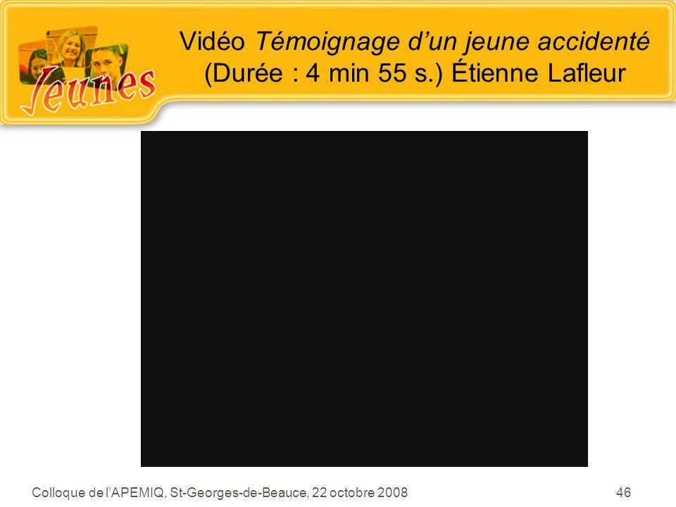Vidéo Témoignage d'un jeune accidenté (Durée : 4 min 55 s