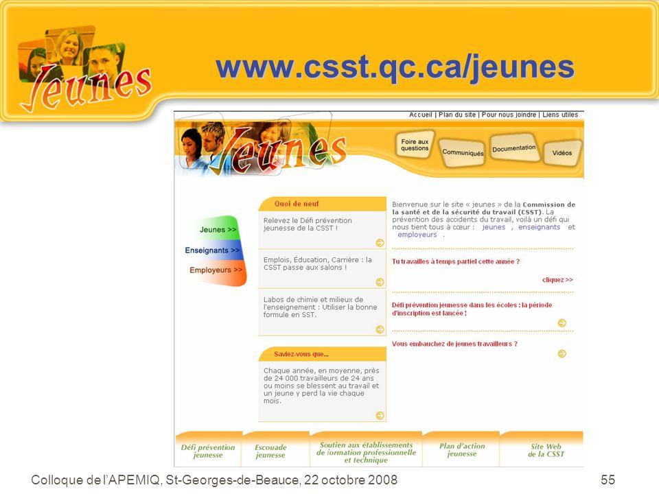 www.csst.qc.ca/jeunes Mettre la page titre du site Web Jeunes.