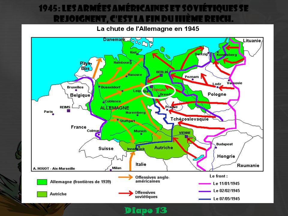 1945: les armées américaines et soviétiques se rejoignent, c est la fin du IIIème Reich.