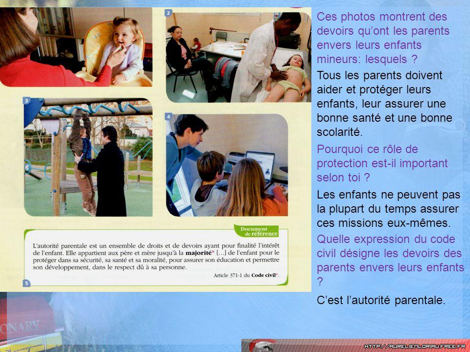 Ces photos montrent des devoirs qu'ont les parents envers leurs enfants mineurs: lesquels