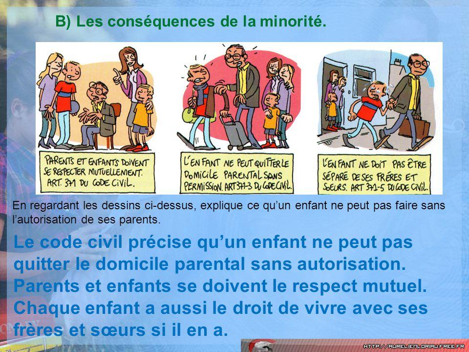 B) Les conséquences de la minorité.