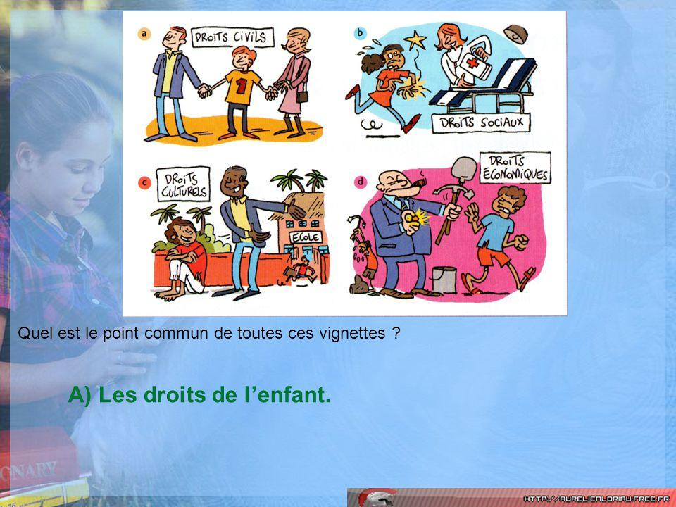 A) Les droits de l'enfant.