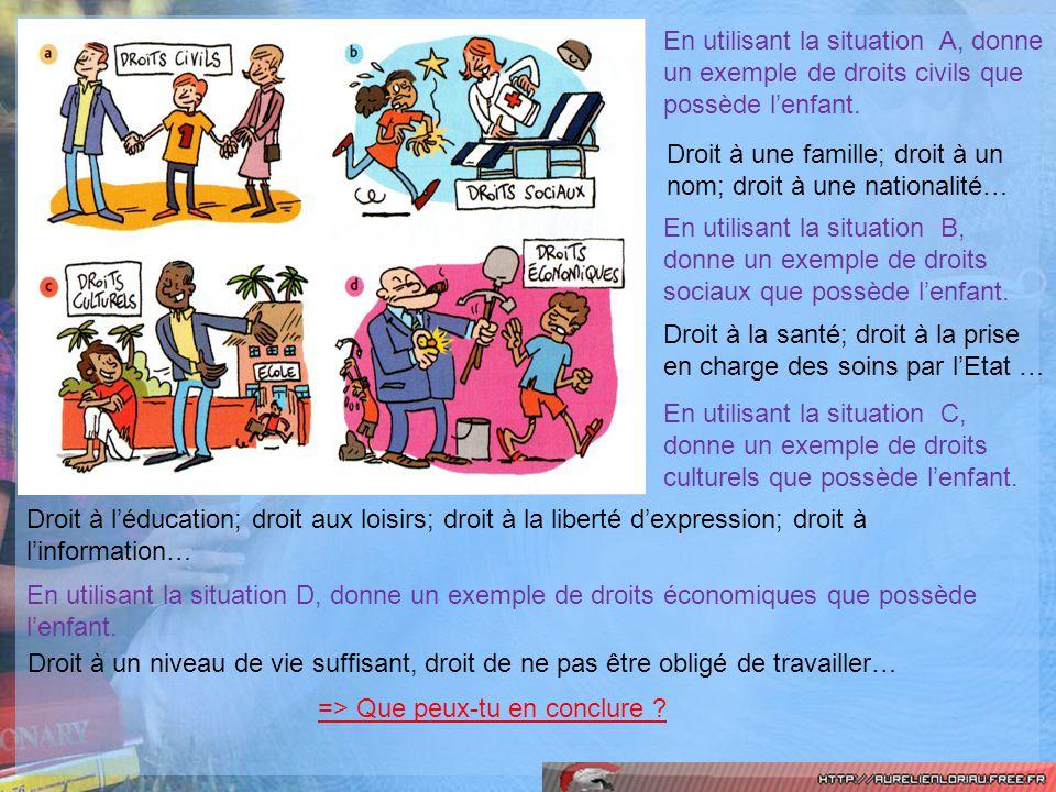 En utilisant la situation A, donne un exemple de droits civils que possède l'enfant.