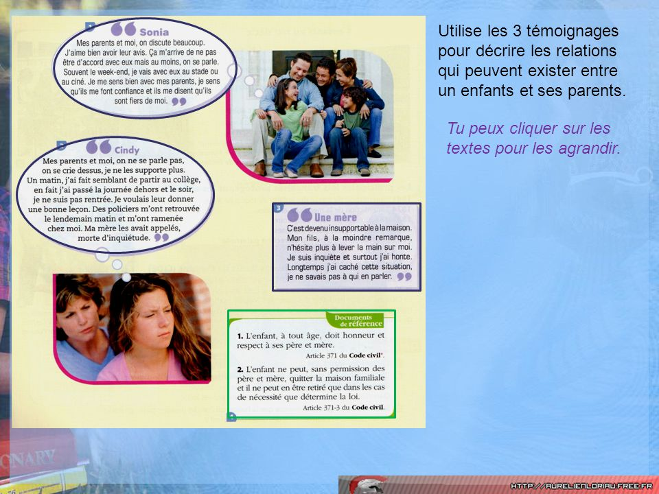 Utilise les 3 témoignages pour décrire les relations qui peuvent exister entre un enfants et ses parents.