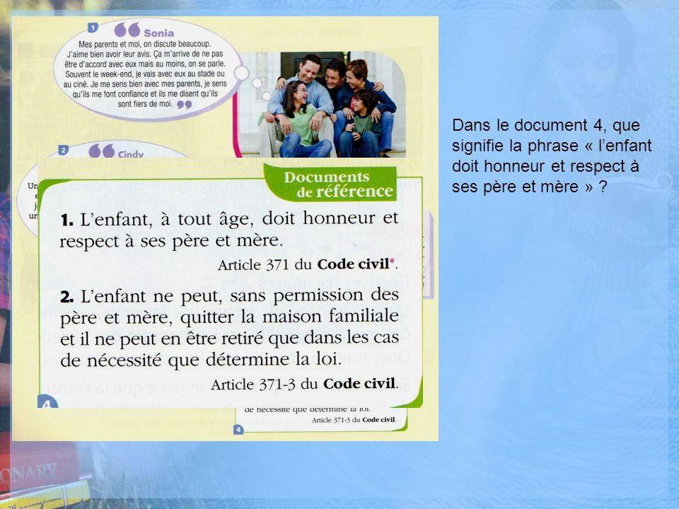 Dans le document 4, que signifie la phrase « l'enfant doit honneur et respect à ses père et mère »