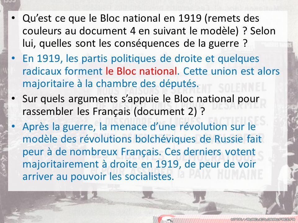 Qu'est ce que le Bloc national en 1919 (remets des couleurs au document 4 en suivant le modèle) Selon lui, quelles sont les conséquences de la guerre