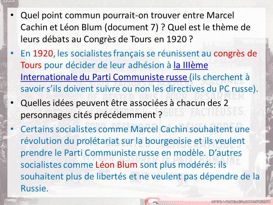 Quel point commun pourrait-on trouver entre Marcel Cachin et Léon Blum (document 7) Quel est le thème de leurs débats au Congrès de Tours en 1920