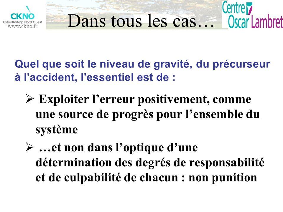 Dans tous les cas… Quel que soit le niveau de gravité, du précurseur à l'accident, l'essentiel est de :