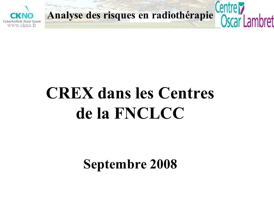 Analyse des risques en radiothérapie CREX dans les Centres de la FNCLCC Septembre 2008