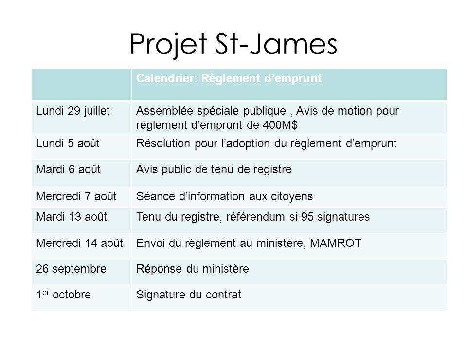 Projet St-James Calendrier: Règlement d'emprunt Lundi 29 juillet