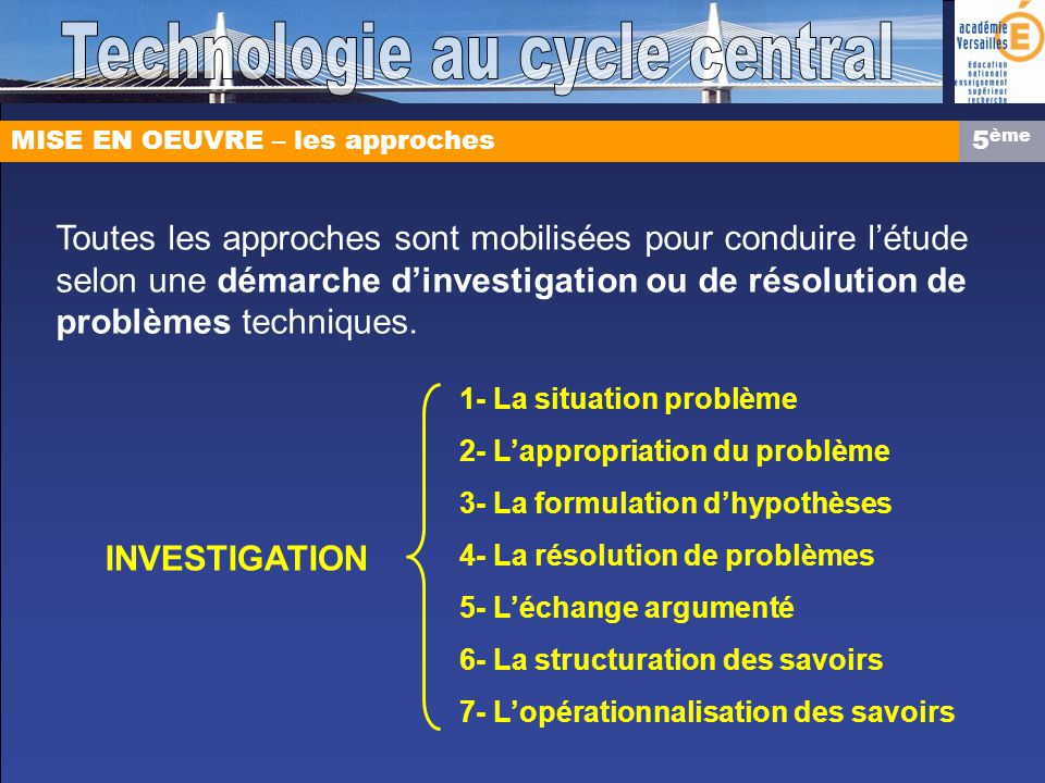 Technologie au cycle central