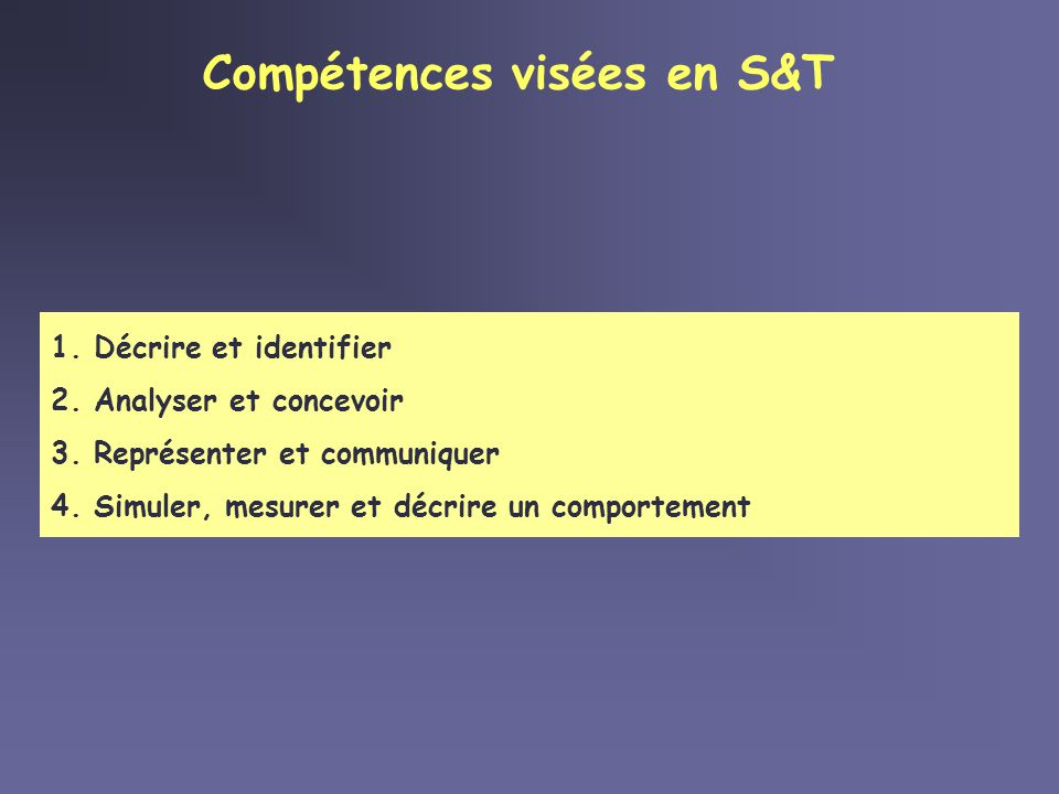 Compétences visées en S&T