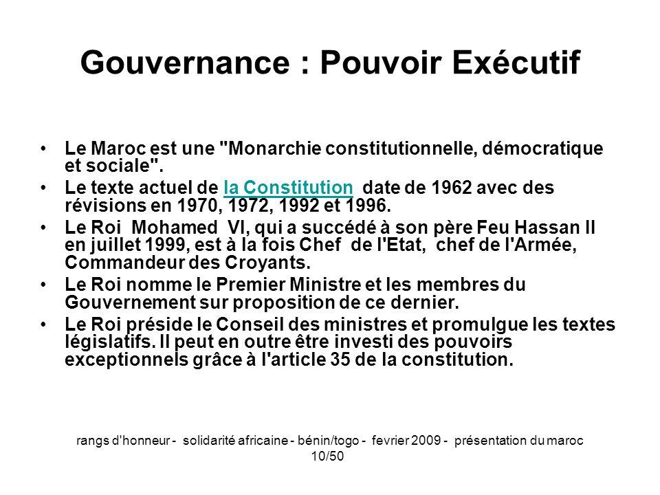 Gouvernance : Pouvoir Exécutif