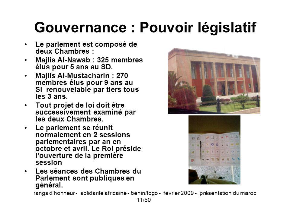 Gouvernance : Pouvoir législatif