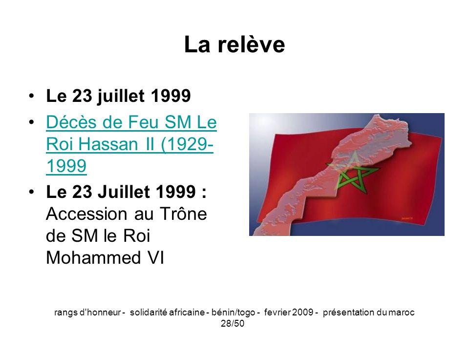 La relèveLe 23 juillet 1999. Décès de Feu SM Le Roi Hassan II (1929-1999. Le 23 Juillet 1999 : Accession au Trône de SM le Roi Mohammed VI