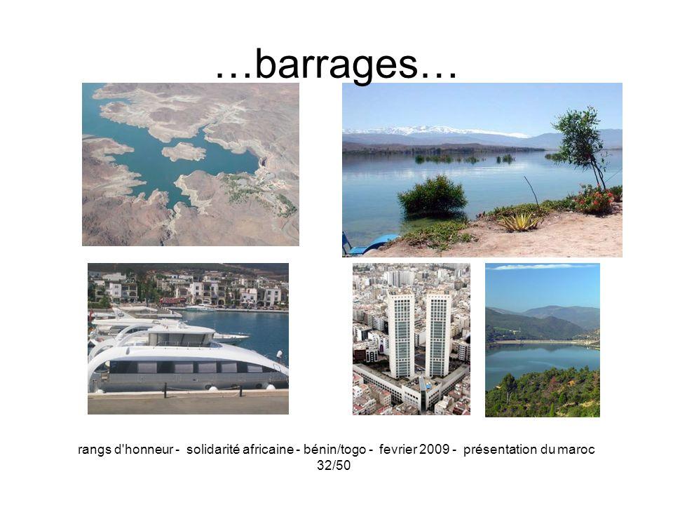 …barrages… rangs d honneur - solidarité africaine - bénin/togo - fevrier 2009 - présentation du maroc.