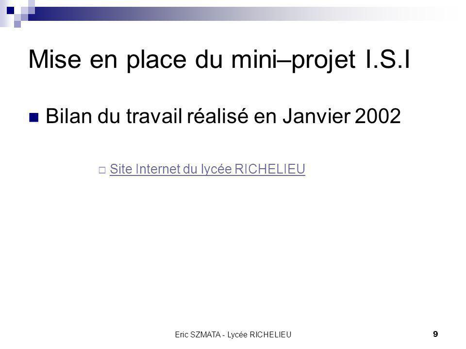 Mise en place du mini–projet I.S.I