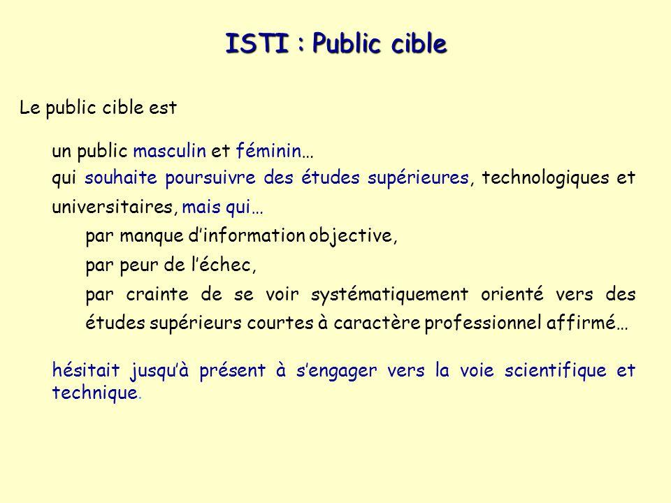 ISTI : Public cible Le public cible est un public masculin et féminin…