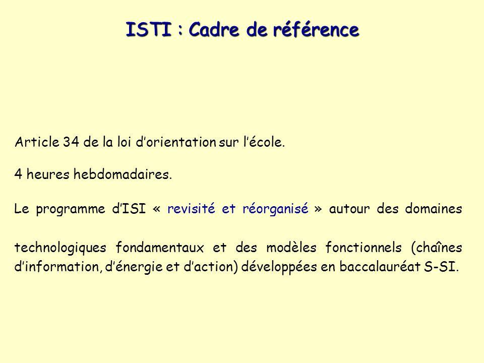 ISTI : Cadre de référence