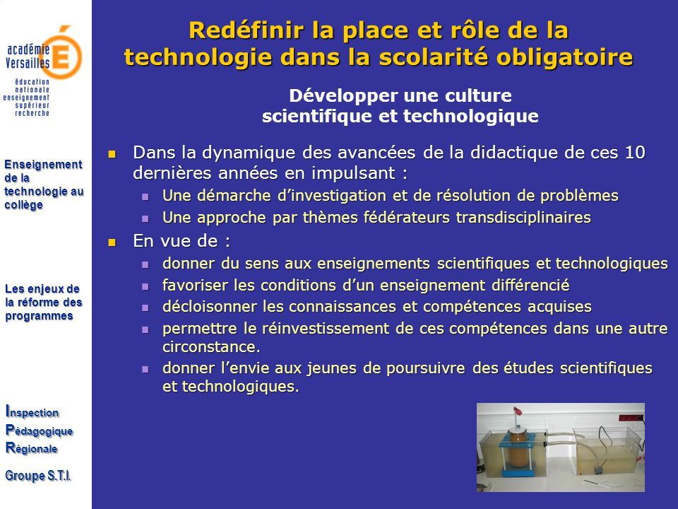 Développer une culture scientifique et technologique