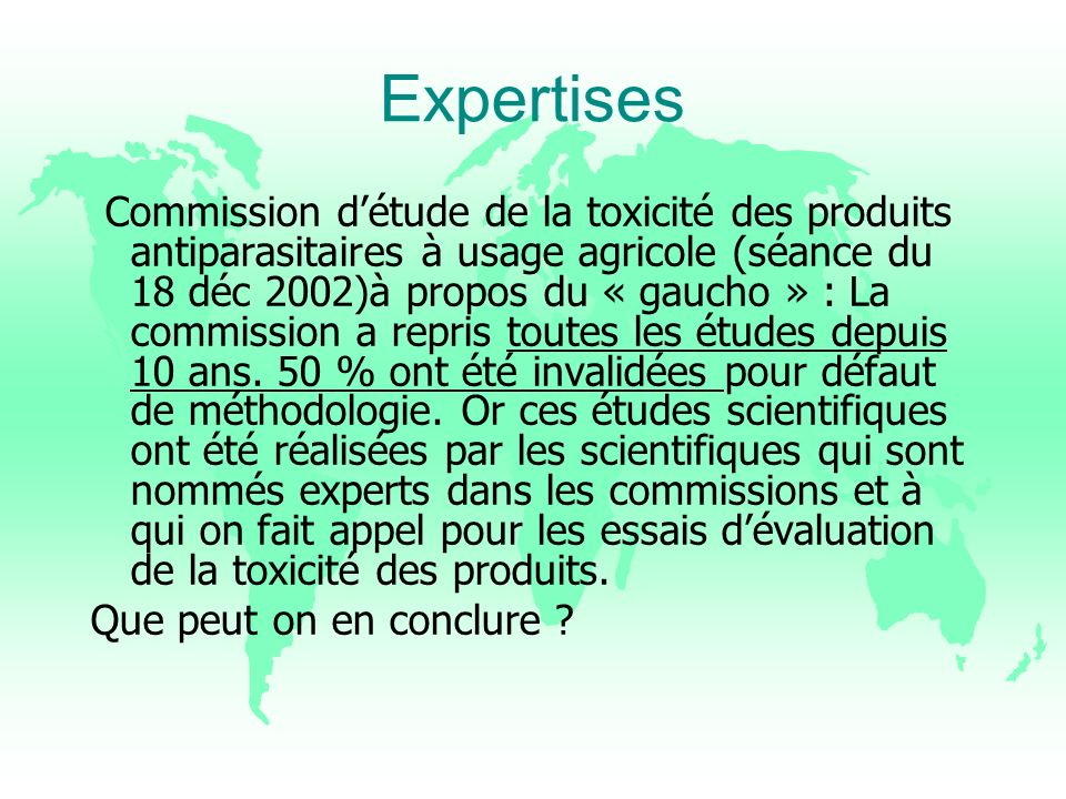 Expertises Que peut on en conclure