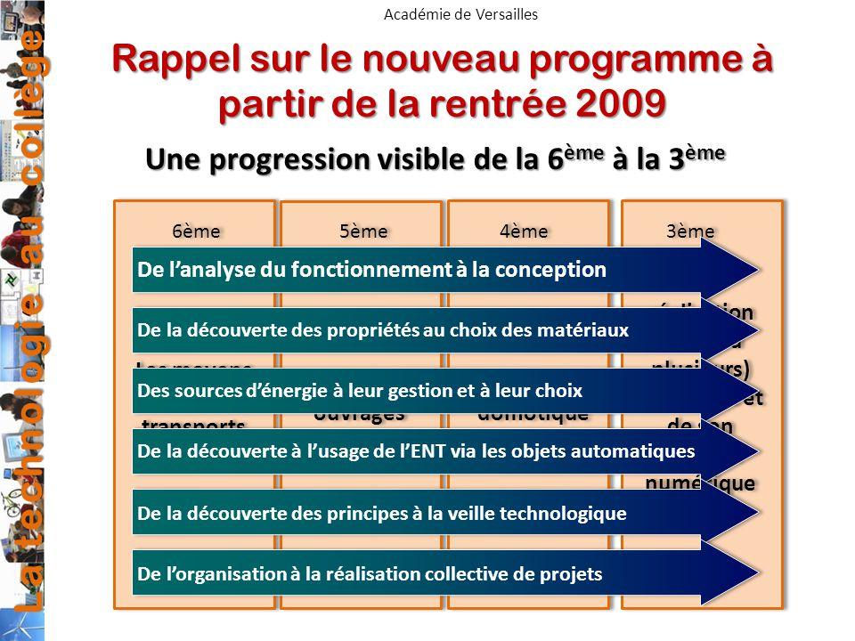 Rappel sur le nouveau programme à partir de la rentrée 2009