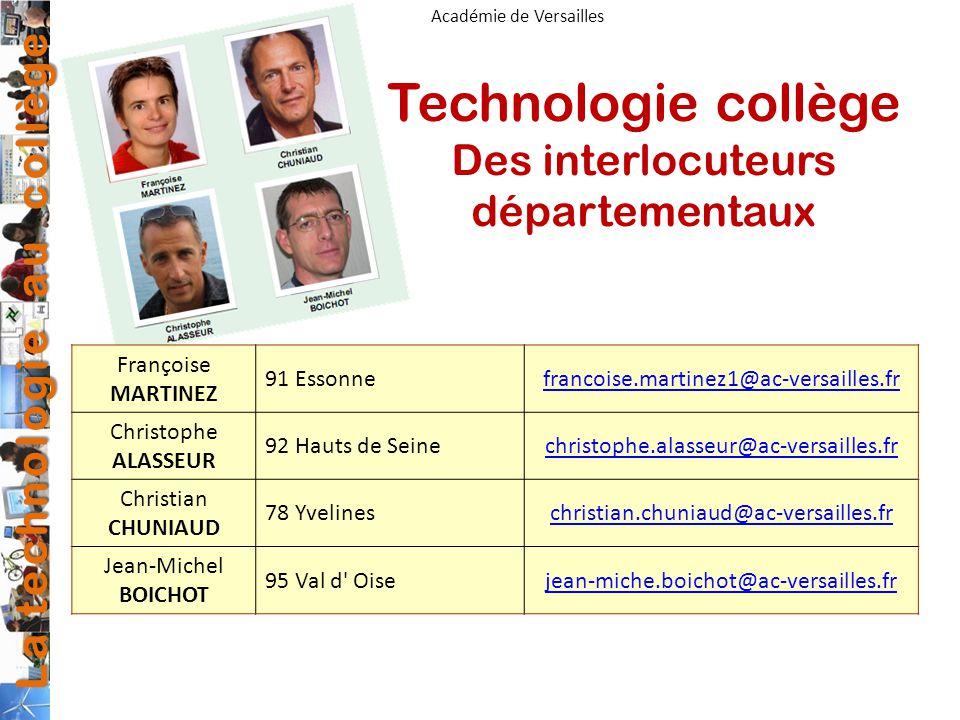 Technologie collège Des interlocuteurs départementaux