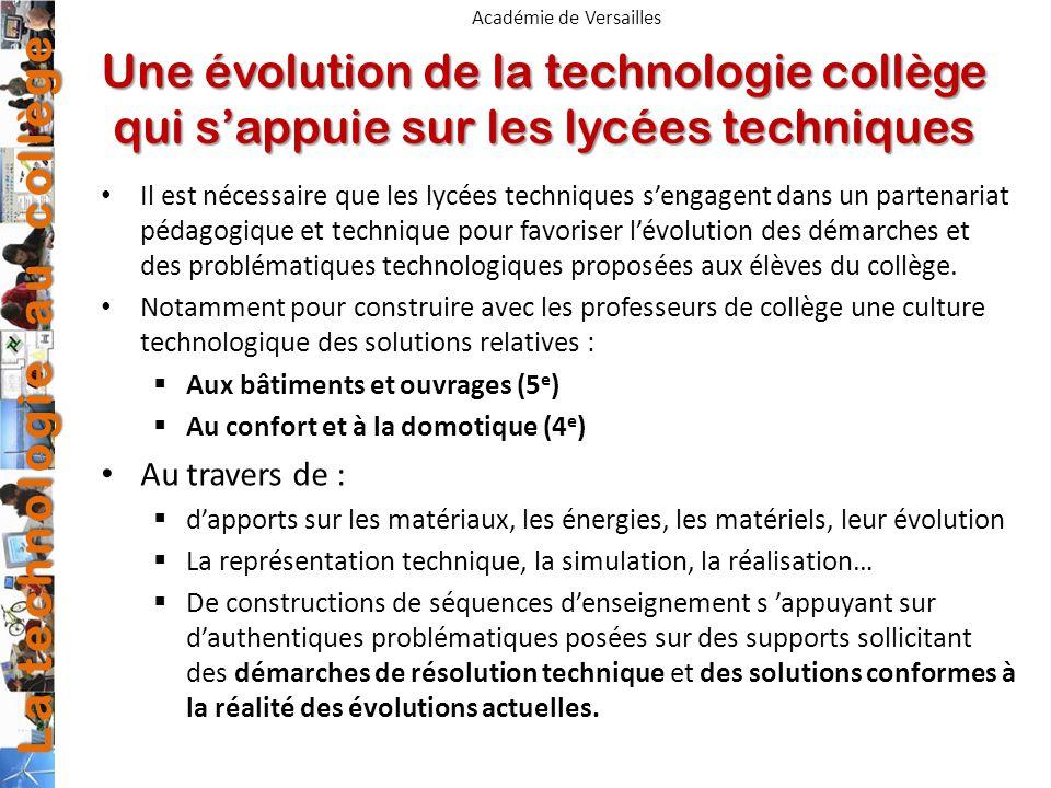 Une évolution de la technologie collège qui s'appuie sur les lycées techniques