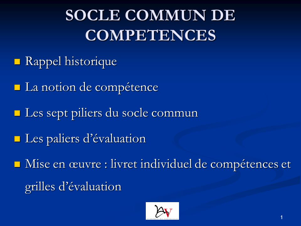 SOCLE COMMUN DE COMPETENCES
